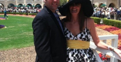 Lori Thomas Ingram and husband Jay Ingram attend opening day at Del Mar for it's 75th horse racing season.