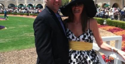 Lori Thomas Ingram and husband Jay Ingram attend opening day at Del Mar for it's 75th horse racing season.