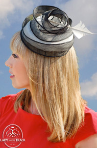 Trixie wearing a Lisa Tan hat supplied by Fashion at The Races.