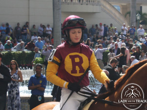 Jockey Rosie Napravnik will lead Take Charge Indy to the finish line in the 2013 Skip Away Stakes at Gulfstream Park.