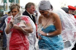 A clear poncho will protect yo from the rain but still allow you to show off your Kentucky Derby dress.