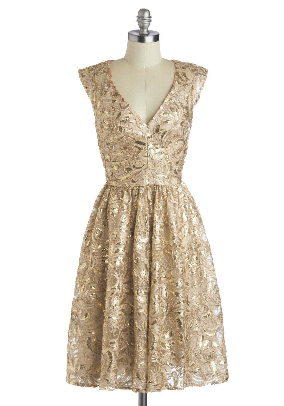 Holiday Dresses Gold 38