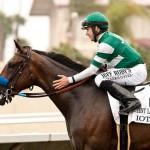 Iotapa and jockey Joe Talamo win the Grade I $300,000 Clement L. Hirsch Stakes
