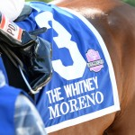 Moreno and jockey Junior Alvarado win the Whitney at Saratoga on Saturday, August 2, 2014.