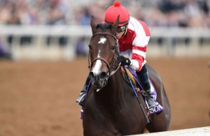 Songbird sang to the racing fans at Keeneland, the host track for Breeders Cup 2015 on Saturday, October 31, and treated them on Halloween to a 5 3/4 with Hall Of Fame Jockey Mike Smith singing along for the journey. Breeders' Cup Photo ©