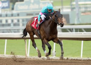 Mr. and Mrs. J. S. Moss' Royal Mo and jockey Victor Espinoza win the Grade III, $150,000 Robert B. Lewis Stakes, Saturday, February 4, 2017 at Santa Anita Park, Arcadia CA.© BENOIT PHOTO
