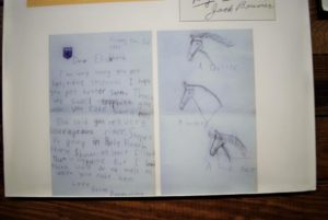 "A letter written by a then 8-year-old Jacqueline Bouvier to a steeplechase jockey. Photo"" Sue Daragan"