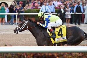 Always Dreaming Wins the 2017 Florida Derby with John Velazquez aboard. Photo: Lauren King/Coglianese