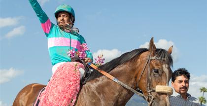 Gormley and jockey Victor Espinoza after winning the 2017 Santa Anita Derby, 4/8/17. Photo: Benoit