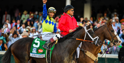 Always Dreaming and jockey John Velazquez celebrate winning Kentucky Derby 143 at Churchill Downs, 5/6/17. Photo: Jordan Sigmon