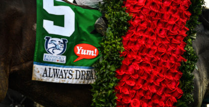 Always Dreaming and jockey John Velazquez win the 143rd Kentucky Derby at Churchill Downs, 5/6/17. Photo: Jordan Sigmon