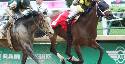 Benner Island holds off Union Strike to win the Eight Belles at Churchill Downs, 5/5/17. Photo: Coady Photography