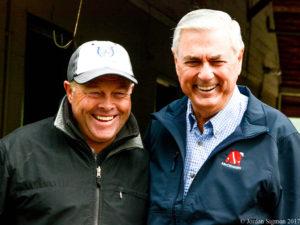 Trainers Ian Wilkes (l) and Carl Nafzger at Churchill Downs, 5/3/17. Photo: Jordan Sigmon