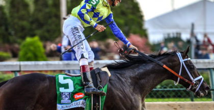 Always Dreaming and jockey John Velazquez after winning Kentucky Derby 143 at Churchill Downs. 5/6/17. Photo: Jordan Sigmon
