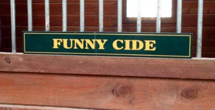 Funny Cide's stall sign. Photo: Elizabeth de Smet