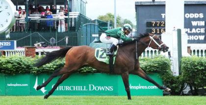 Green Mask winning the Churchill Downs Turf Sprint at Churchill Downs, 5/5/17. Photo: Coady Photography