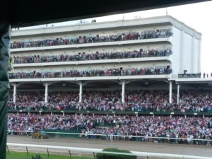 A full grandstand on a rainy Derby Day at Churchil Downs, 5/6/17. Photo: Mary Perdue
