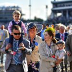 Trainer Joe Sharp and his wife, former jockey Rosie Napravnik, and thier two children before the 2017 Kentucky Derby. 5/6/17. Photo: Jordan Sigmon