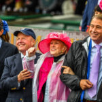 Marylou Whitney in her pink hat on Kentucky Oaks Day 2017. Photo: Jordan Sigmon