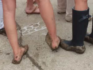 Muddy feet on Derby Day at Churchill Downs, 5/6/17. Photo: Mary Perdue