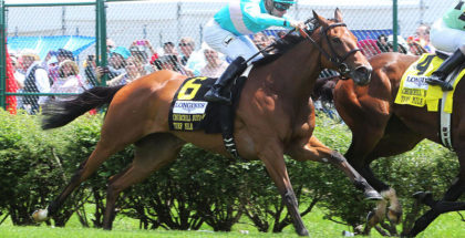 Roca Rojo wins the Churchill Distaff Turf at Churchill Downs 5/6/17. Photo: Coady Photography