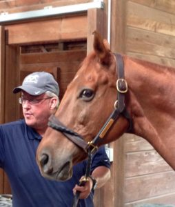 Wes Lanter and dual classic winner Funny Cide. Photo: Elizabeth de Smet
