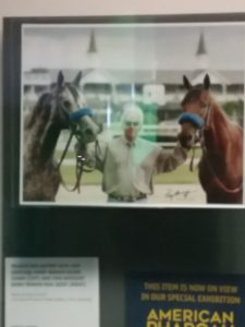 Photo of Hall of Fame trainer Bob Baffert with Derby winners Silver Charm and Real Quiet hanging in the Kentucky Derby Museum. Photo: Mary Perdue
