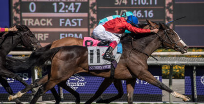 Queen's Trust Wins the Breeders' Cup Filly & Mare Turf at Santa Anita, 11/4/16. Photo: Jim Safford