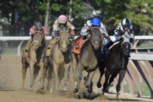 Elate winning the 2017 Alabama Stakes at Saratoga. Photo: Arianna Spadoni/NYRA
