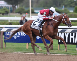 Gun Runner wins the 2017 Woodward Stakes (GI) at Saratoga under jockey Florent Geroux. Photo: NYRA